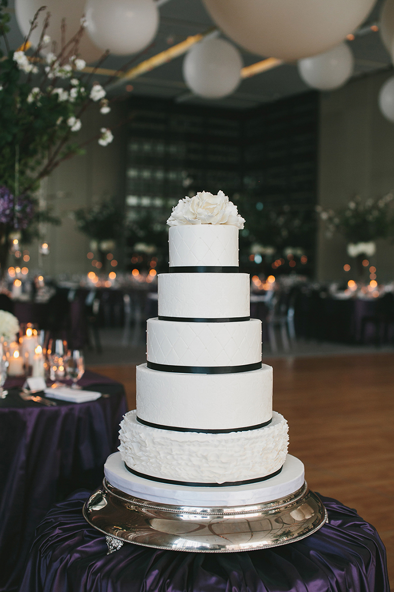 A sophisticated wedding cake fit for a modern black-tie affair, as seen in Wedluxe. Planner: Rebecca Chan Weddings and Events www.rebeccachan.ca To see more, visit www.rebeccachan.ca