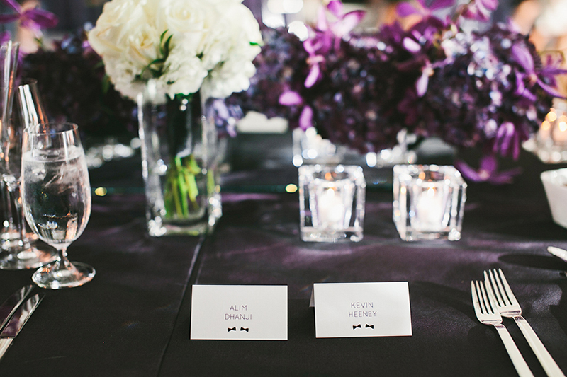 Bow tie place cards. A modern black-tie affair, as seen in Wedluxe. Planner: Rebecca Chan Weddings and Events www.rebeccachan.ca To see more, visit www.rebeccachan.ca