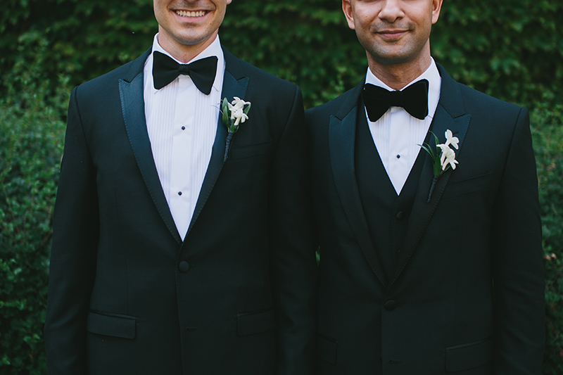 Handsome grooms at this modern black-tie affair, as seen in Wedluxe. Planner: Rebecca Chan Weddings and Events www.rebeccachan.ca To see more, visit www.rebeccachan.ca