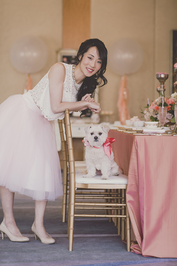Rebecca Chan with her dog Casey. Coral and Gold Wedding Inspiration - See more at Rebecca Chan Weddings and Events www.rebeccachan.ca