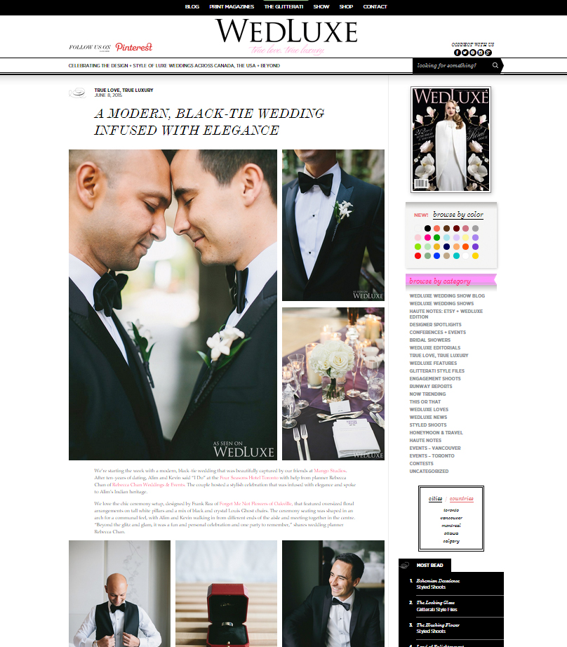Rebecca Chan Weddings & Events featured on Wedluxe blog