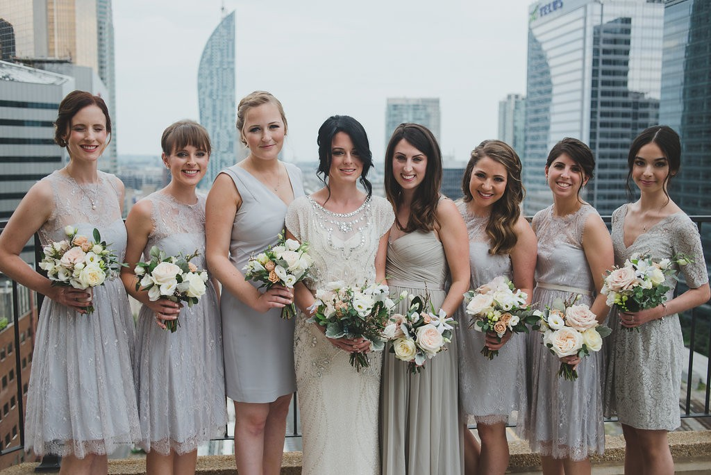 Bride and bridesmaids. Classy Malaparte Wedding. Rebecca Chan Weddings and Events www.rebeccachan.ca