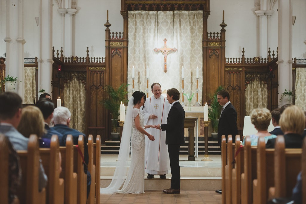 Ceremony at St. Basils Toronto. Classy Malaparte Wedding. Rebecca Chan Weddings and Events www.rebeccachan.ca