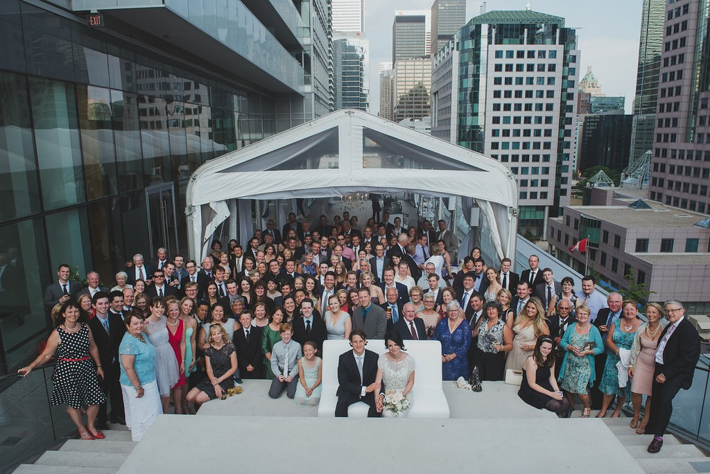 Group photo. Classy Malaparte Wedding. Rebecca Chan Weddings and Events www.rebeccachan.ca