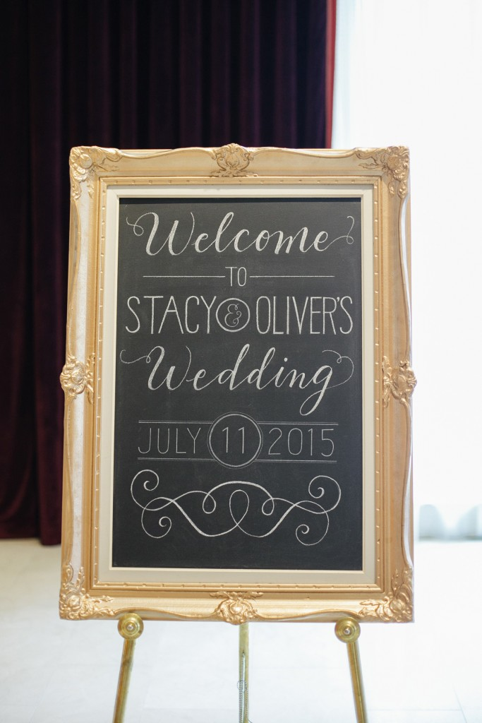 Vintage gold frame welcome sign with calligraphy - Romantic blush pink wedding at Ritz-Carlton Hotel Toronto