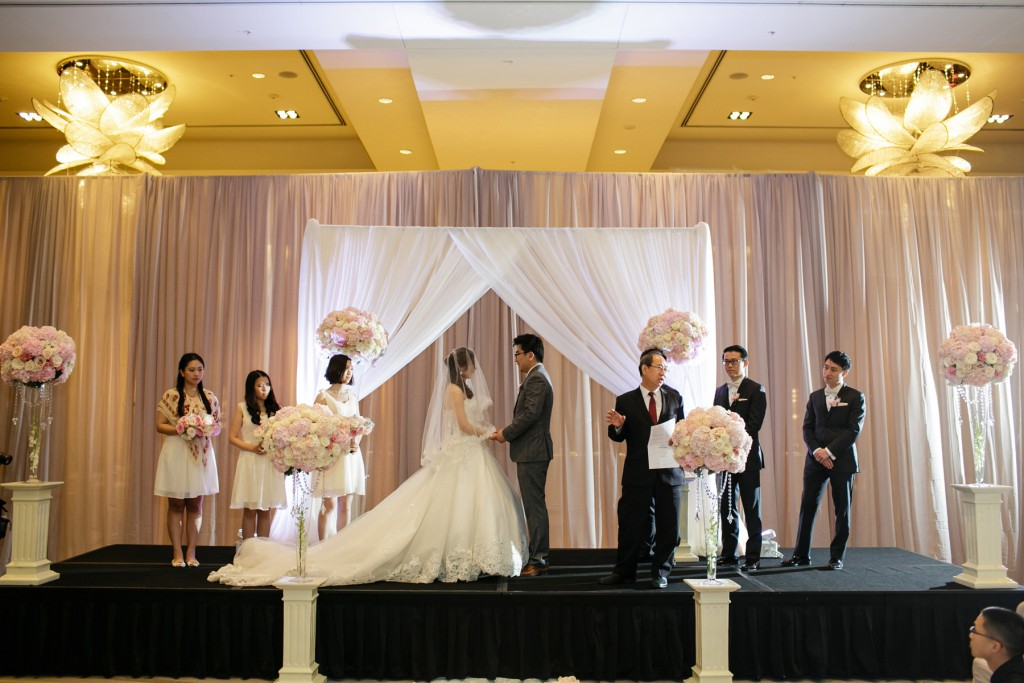 Romantic blush pink wedding ceremony at Ritz-Carlton Hotel Toronto