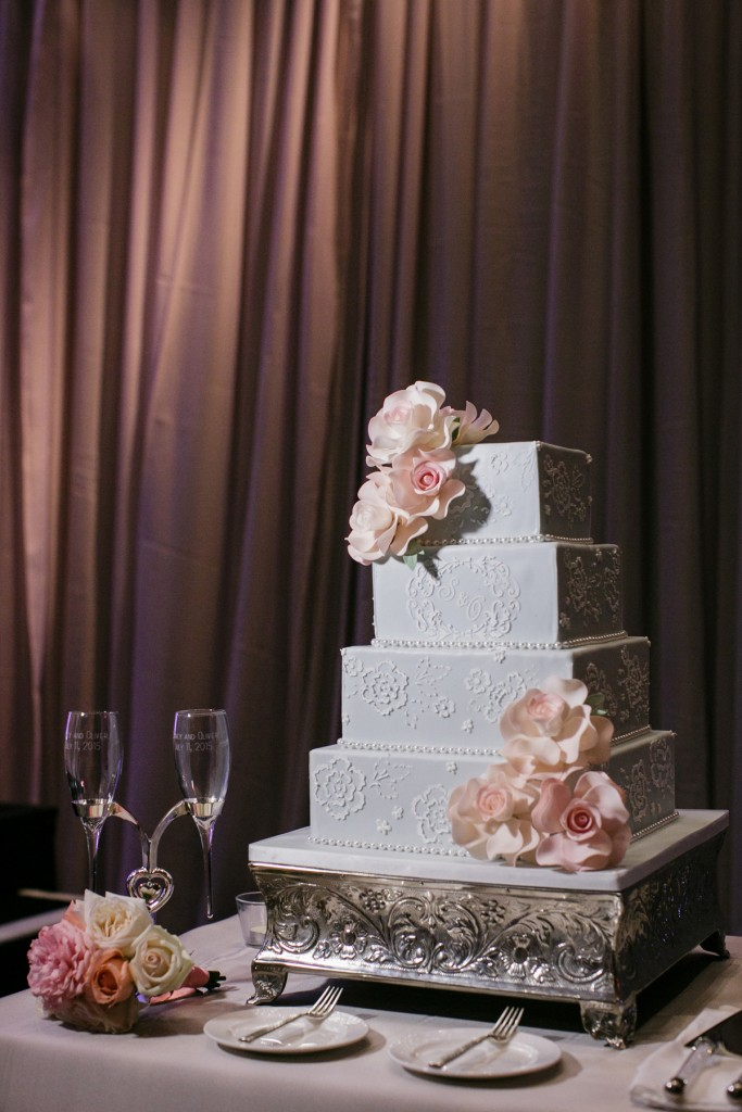 Romantic blush pink wedding cake at Ritz-Carlton Hotel Toronto