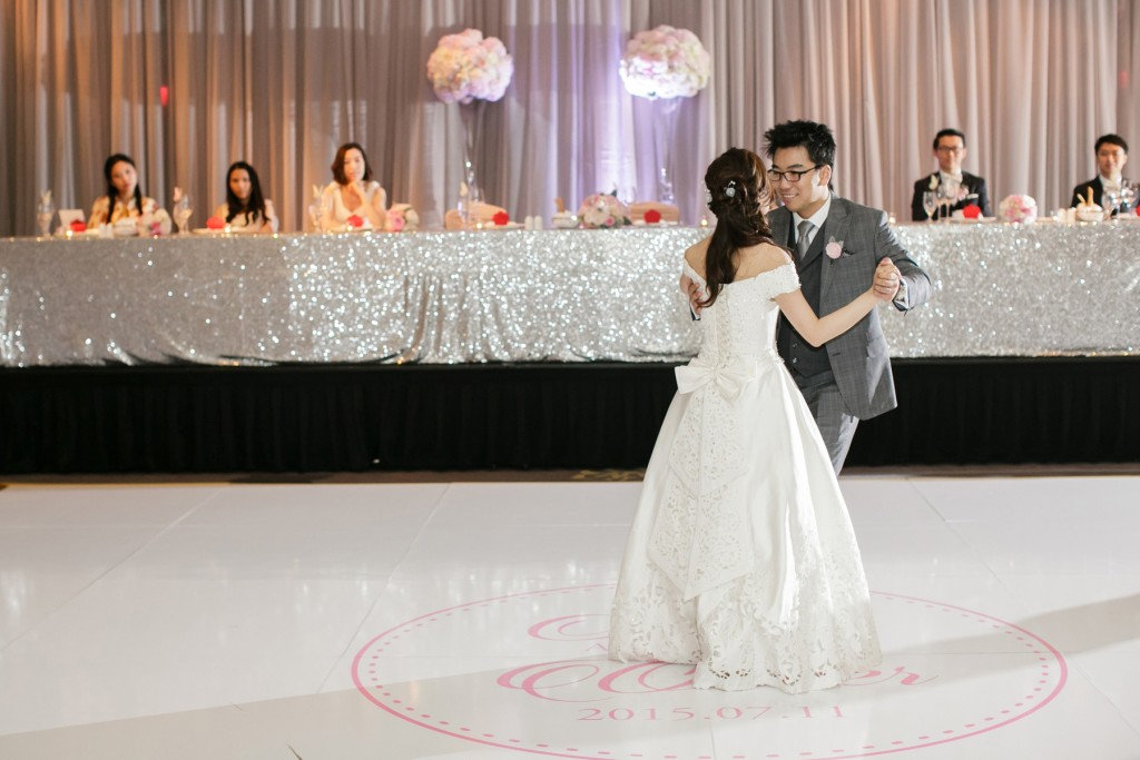 Bride and groom share a first dance - Romantic blush pink wedding at Ritz-Carlton Hotel Toronto