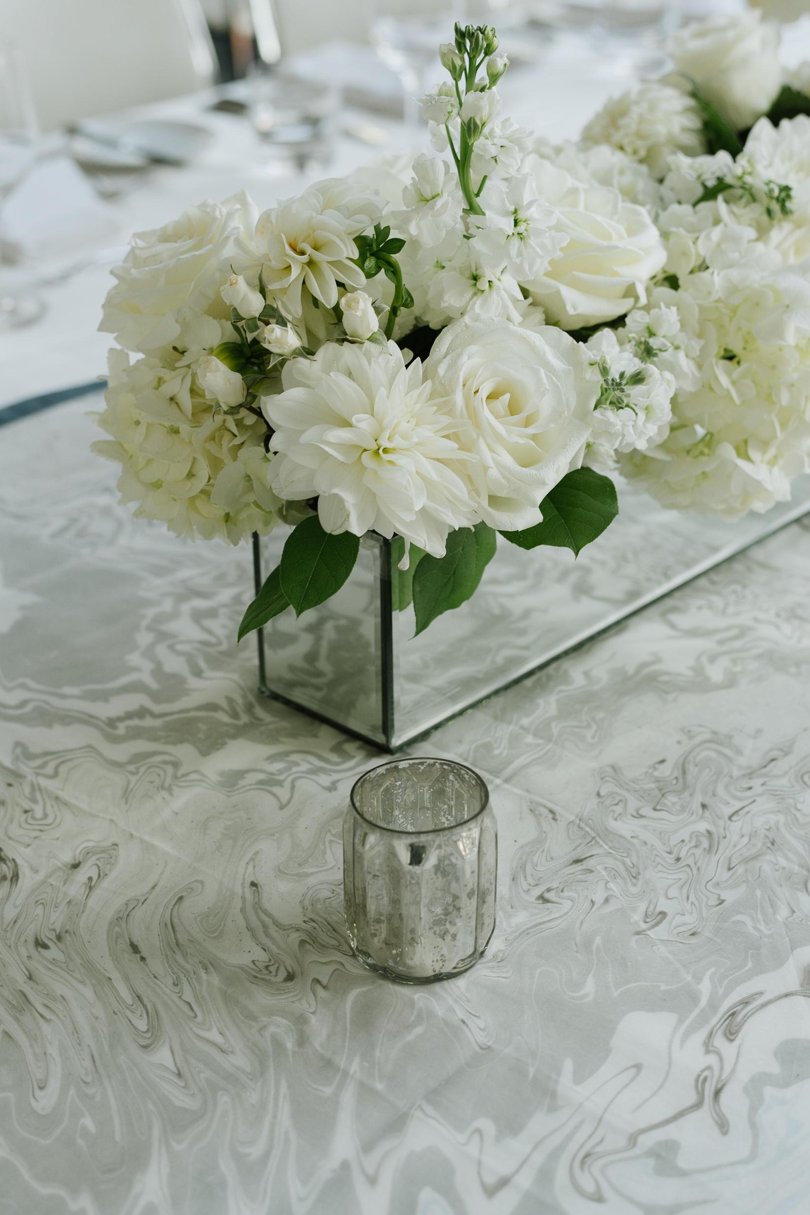Modern White Wedding at Malaparte in Toronto - Custom marble runner