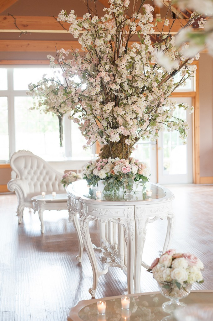 Blush Pink Ontario Winery wedding - Victorian lounge area with cherry blossom feature
