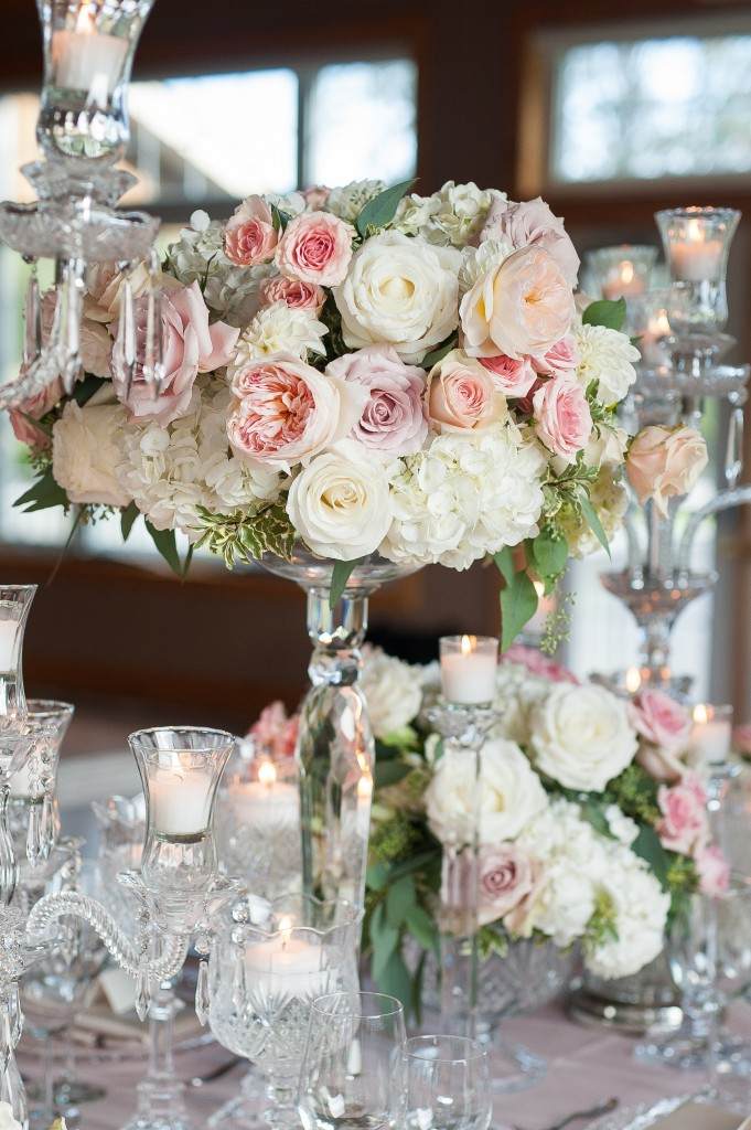 Blush Pink Ontario Winery wedding - romantic reception table with chandeliers