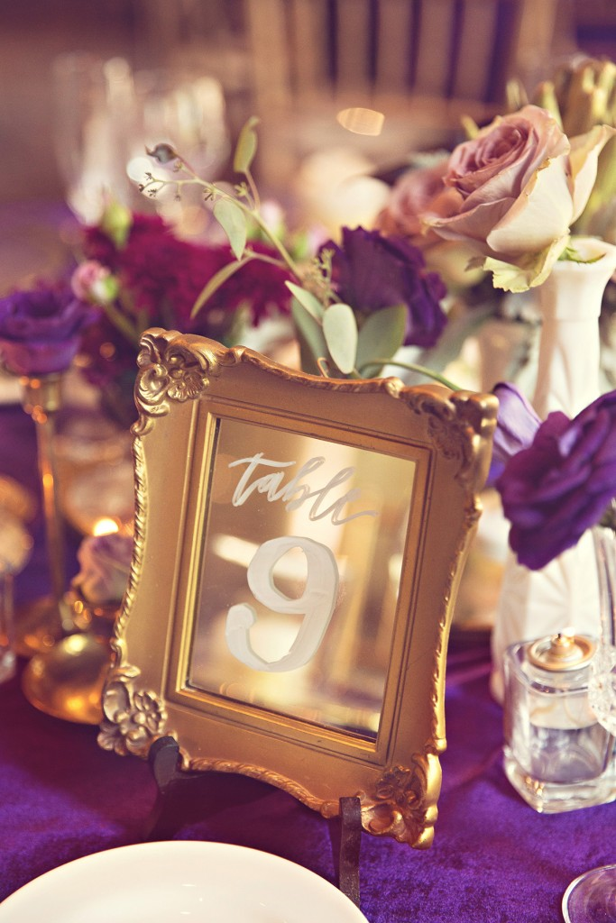 Elegant vintage-inspired purple and gold wedding - table number