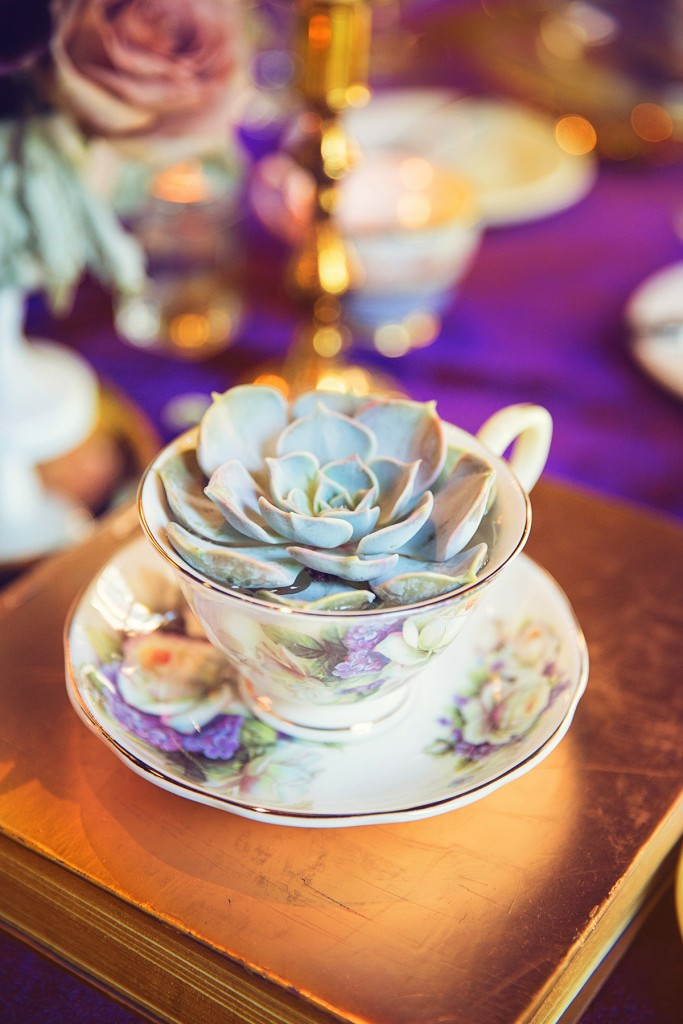 Elegant vintage-inspired purple and gold wedding - succulent in teacup