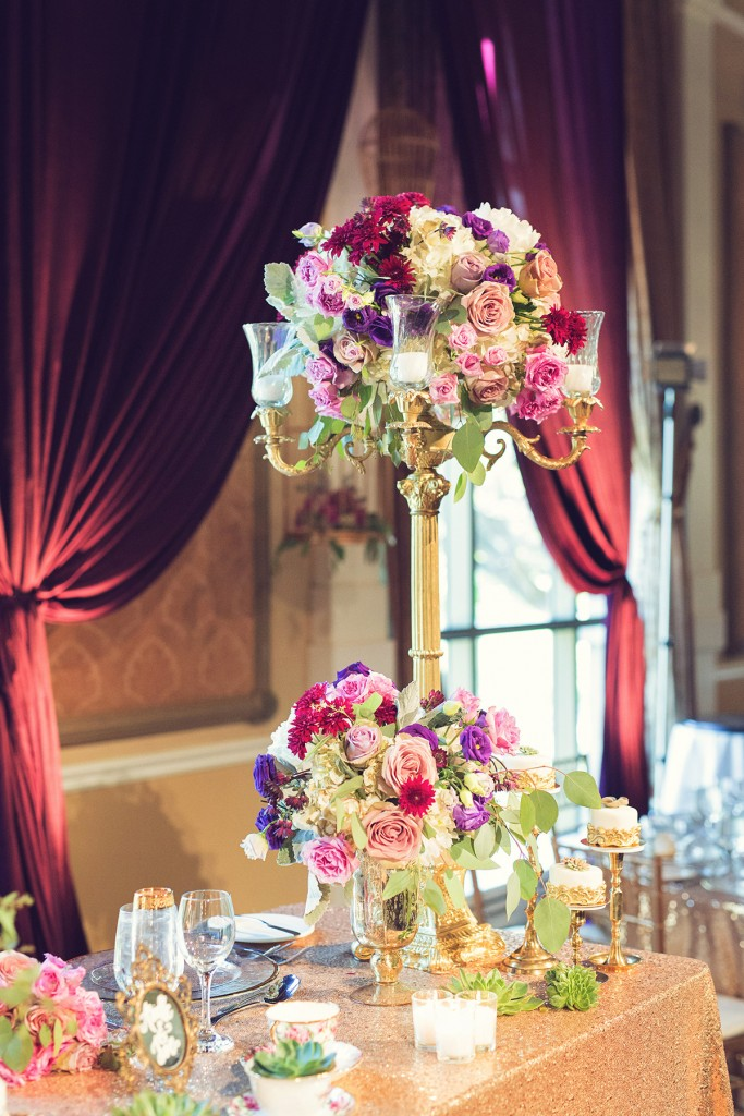 Elegant vintage-inspired purple and gold wedding - sweet heart table