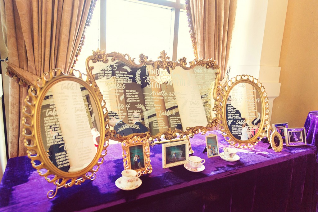 Elegant vintage-inspired purple and gold wedding - seating chart