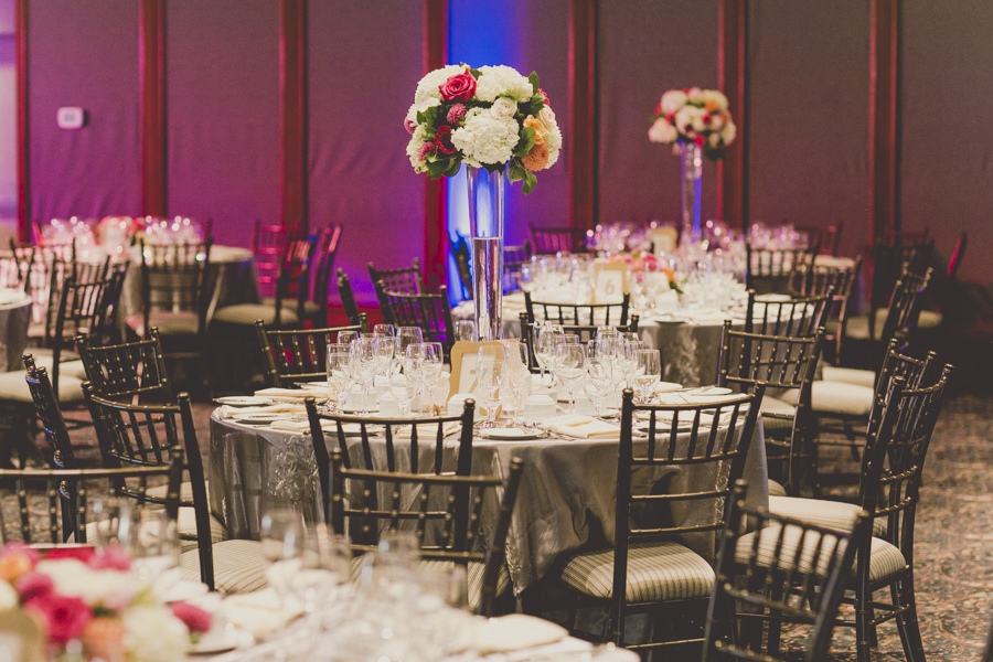 Modern Chic Fuschia and Peach Wedding centrepieces