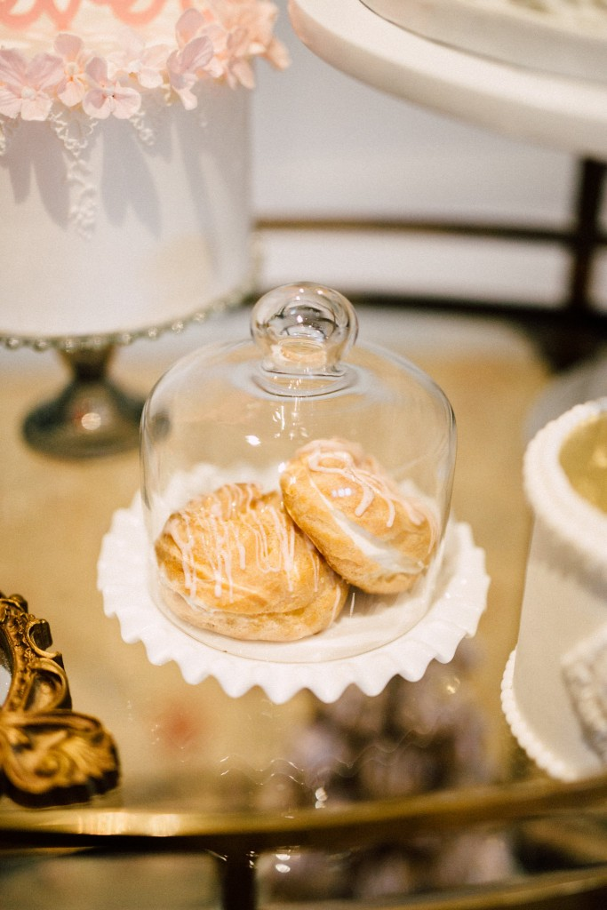 Estates of Sunnybrook indoor ceremony inspiration - sweets table clotch