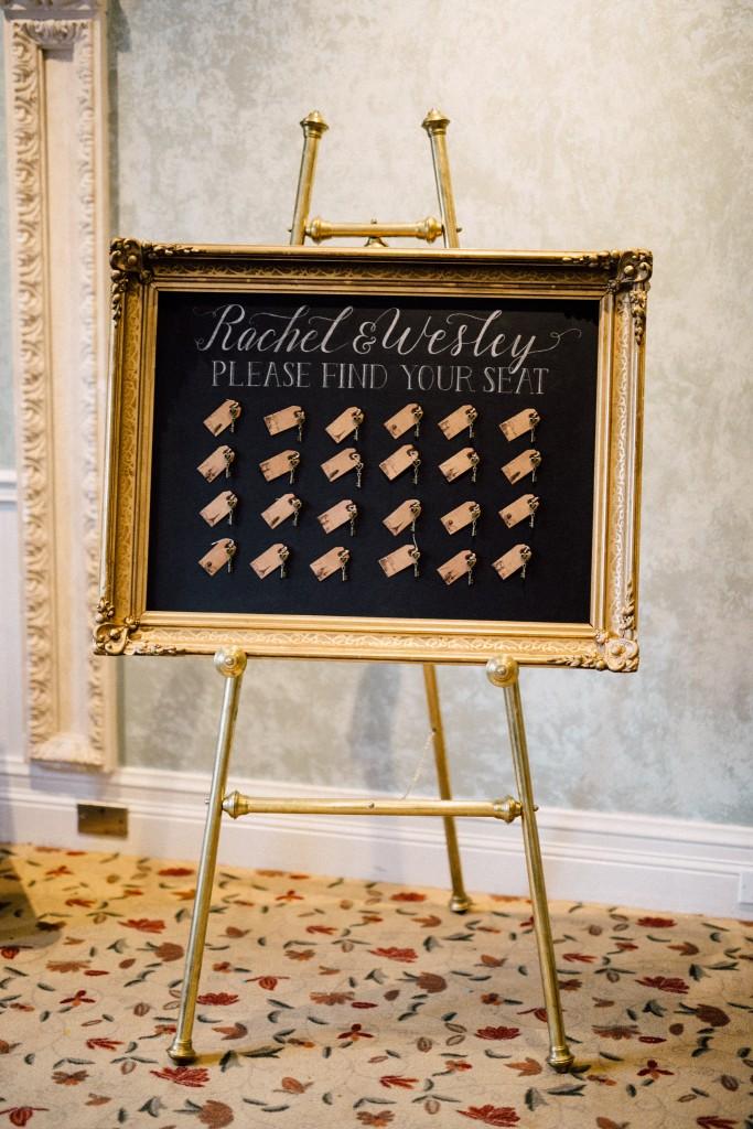 Estates of Sunnybrook indoor ceremony inspiration - gold vintage frame key seating chart