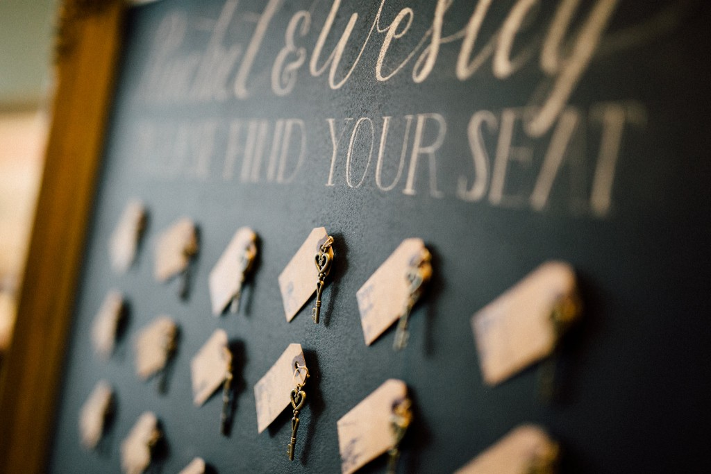 Estates of Sunnybrook indoor ceremony inspiration - vintage key seating chart