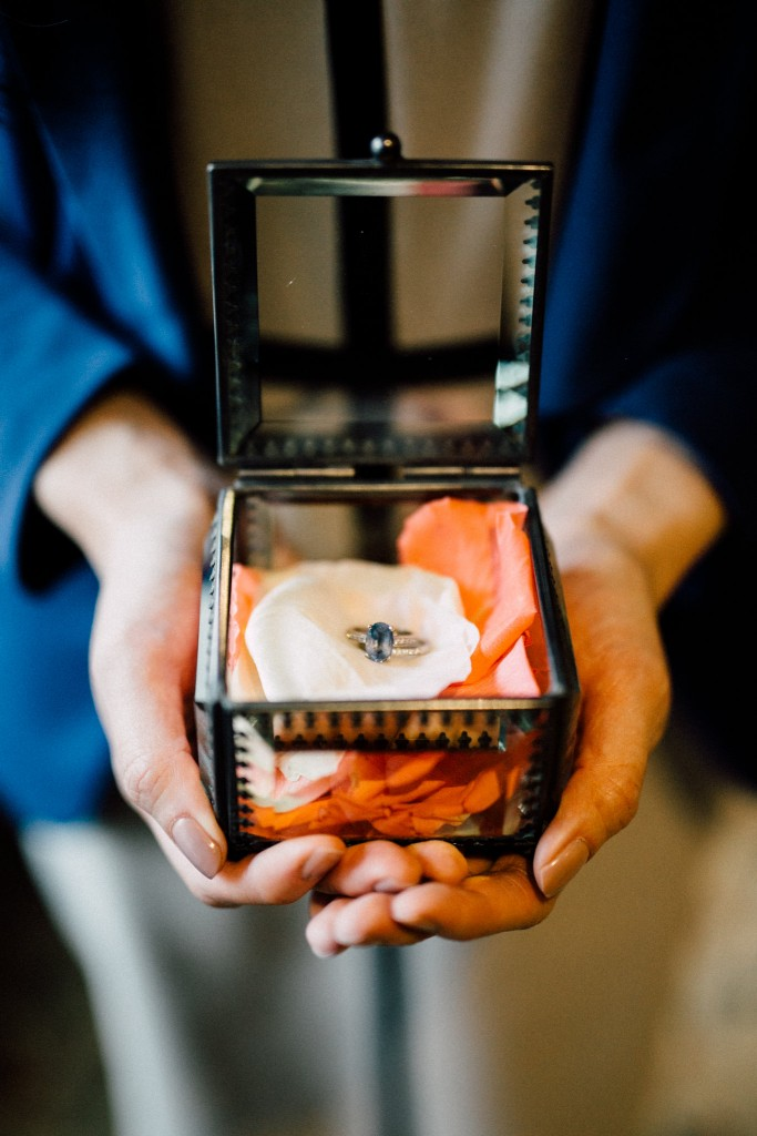 Estates of Sunnybrook indoor ceremony inspiration - vintage wedding ring box with blue sapphire ring