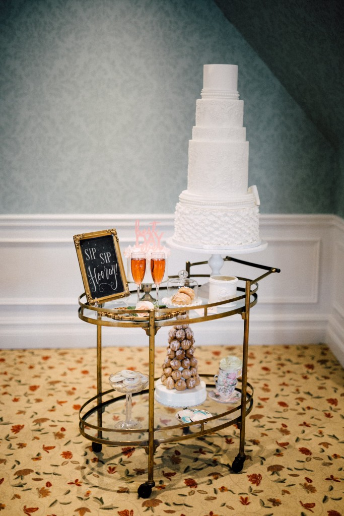 Estates of Sunnybrook indoor ceremony inspiration - gold bar cart sweets table