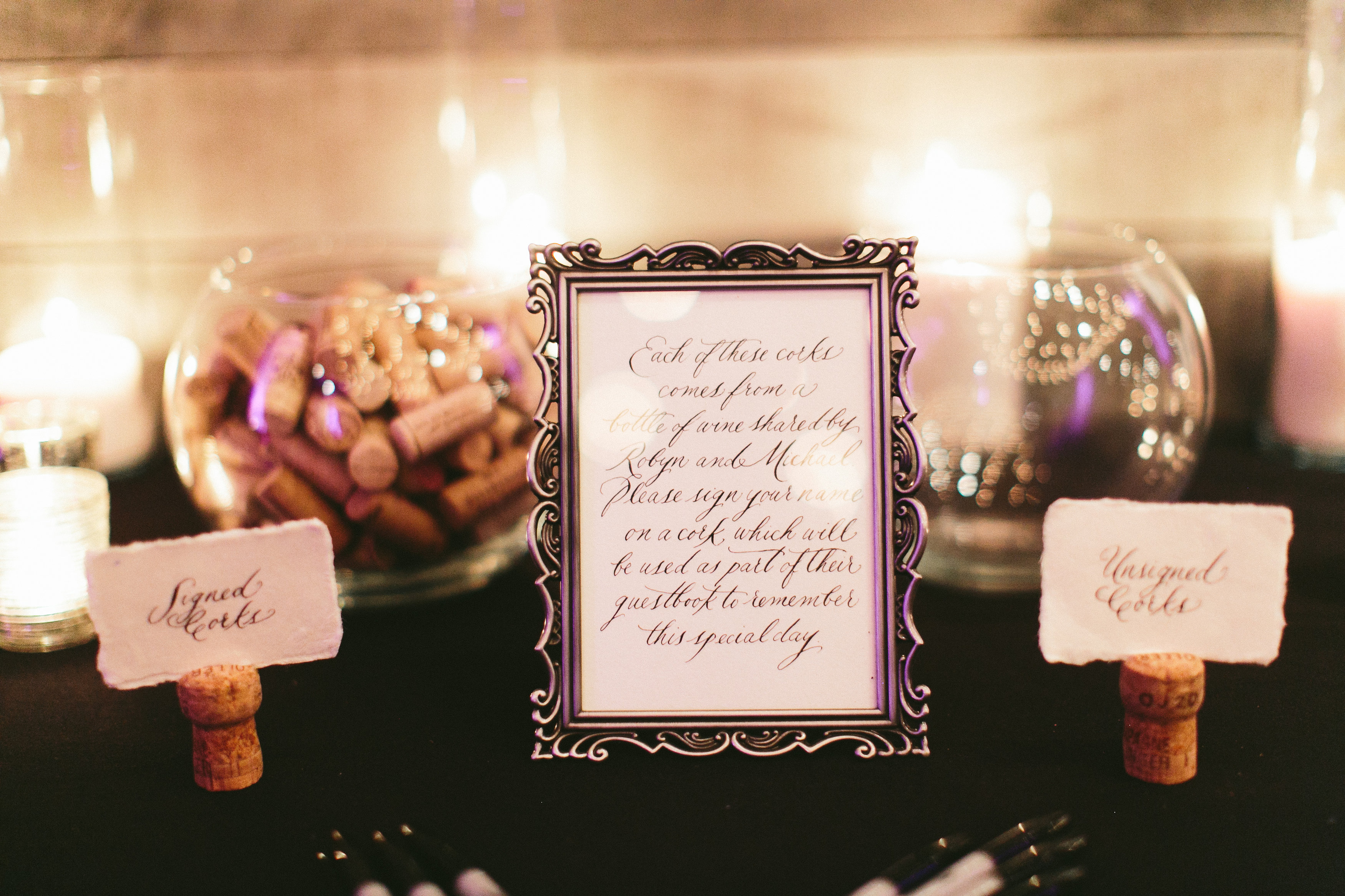 Elegant and Rustic Toronto Wedding in the Distillery District - Cork signing guestbook