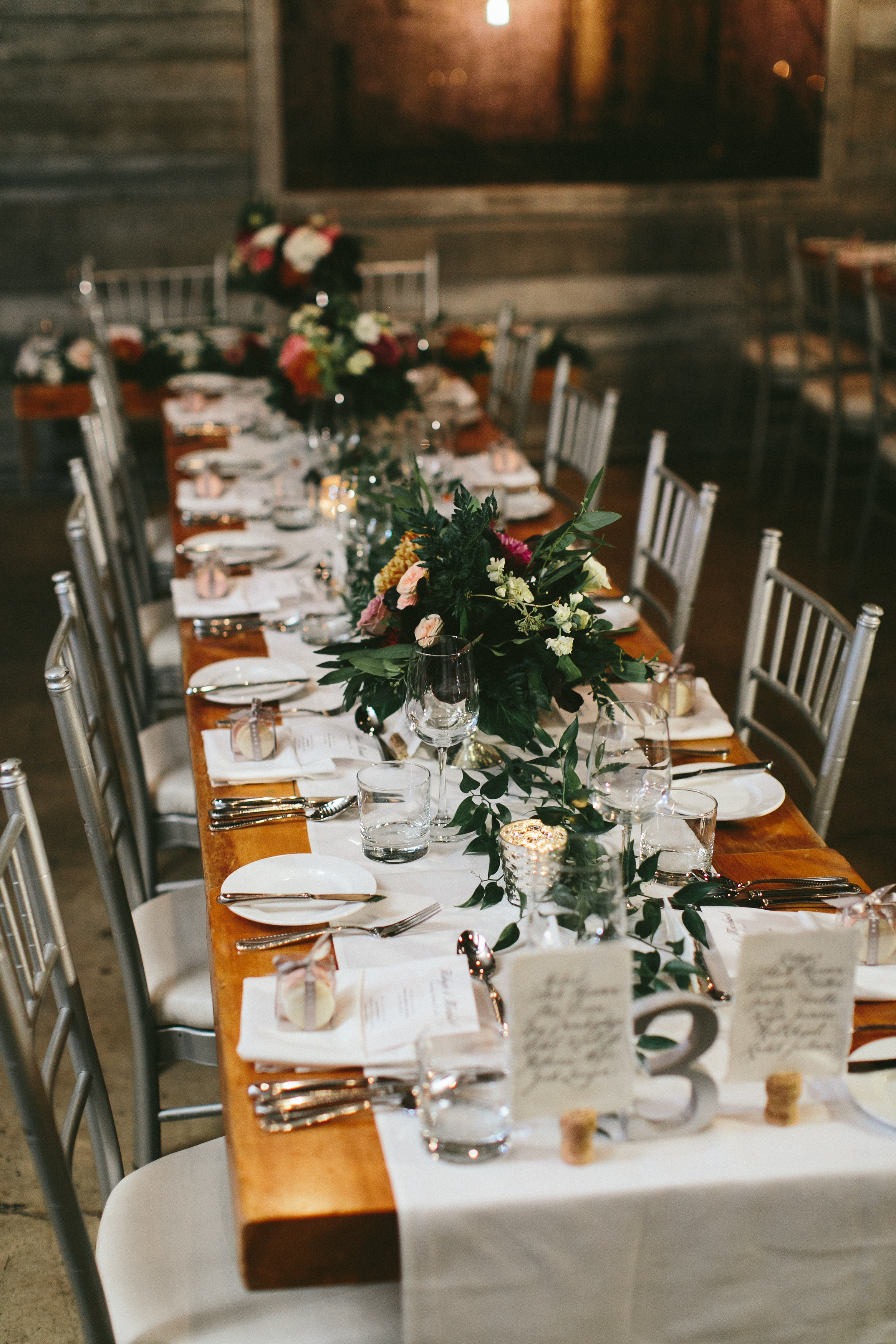 Elegant and Rustic Toronto Wedding in the Distillery District - Garland and centrepieces