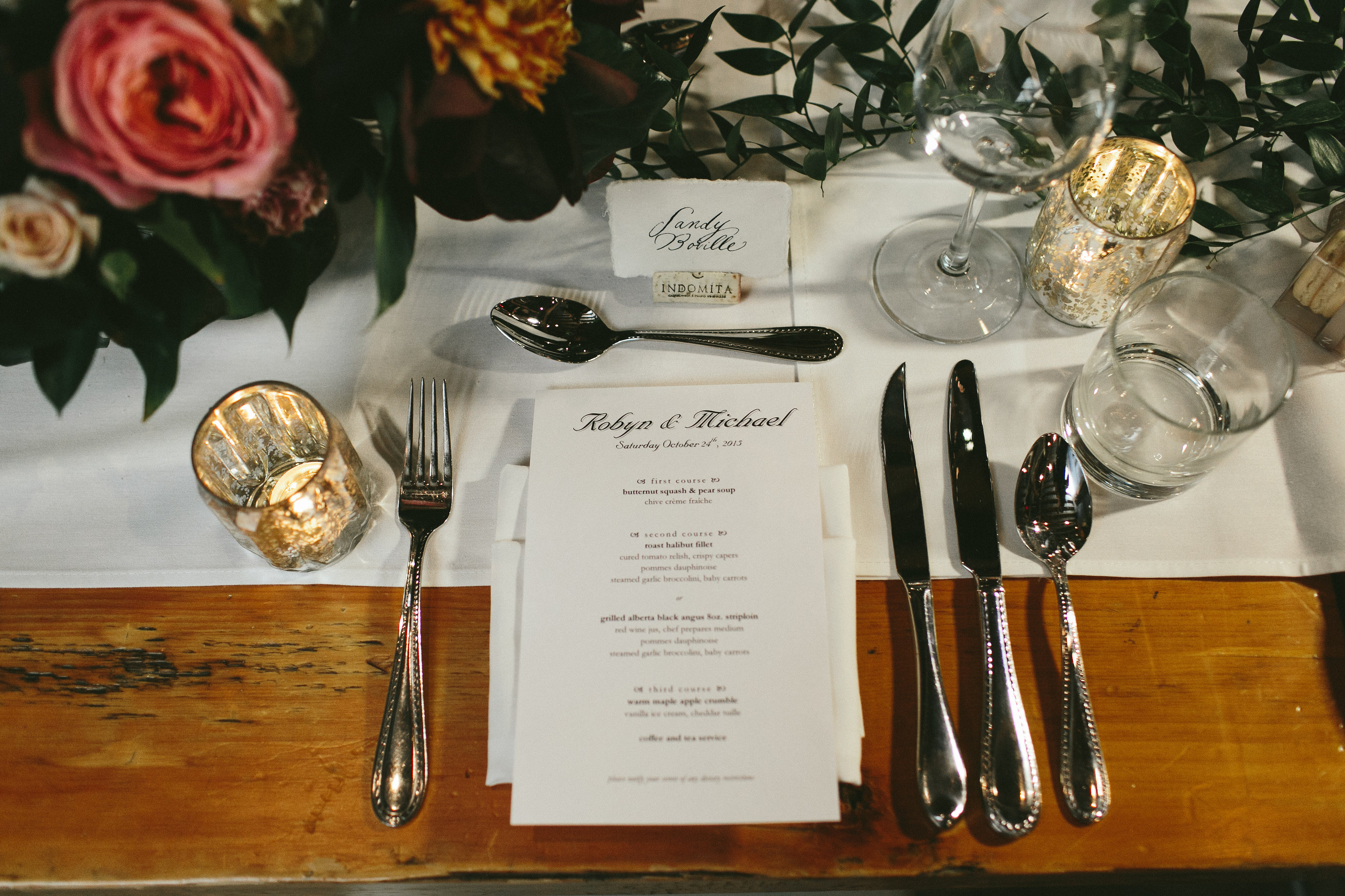 Elegant and Rustic Toronto Wedding in the Distillery District Place setting