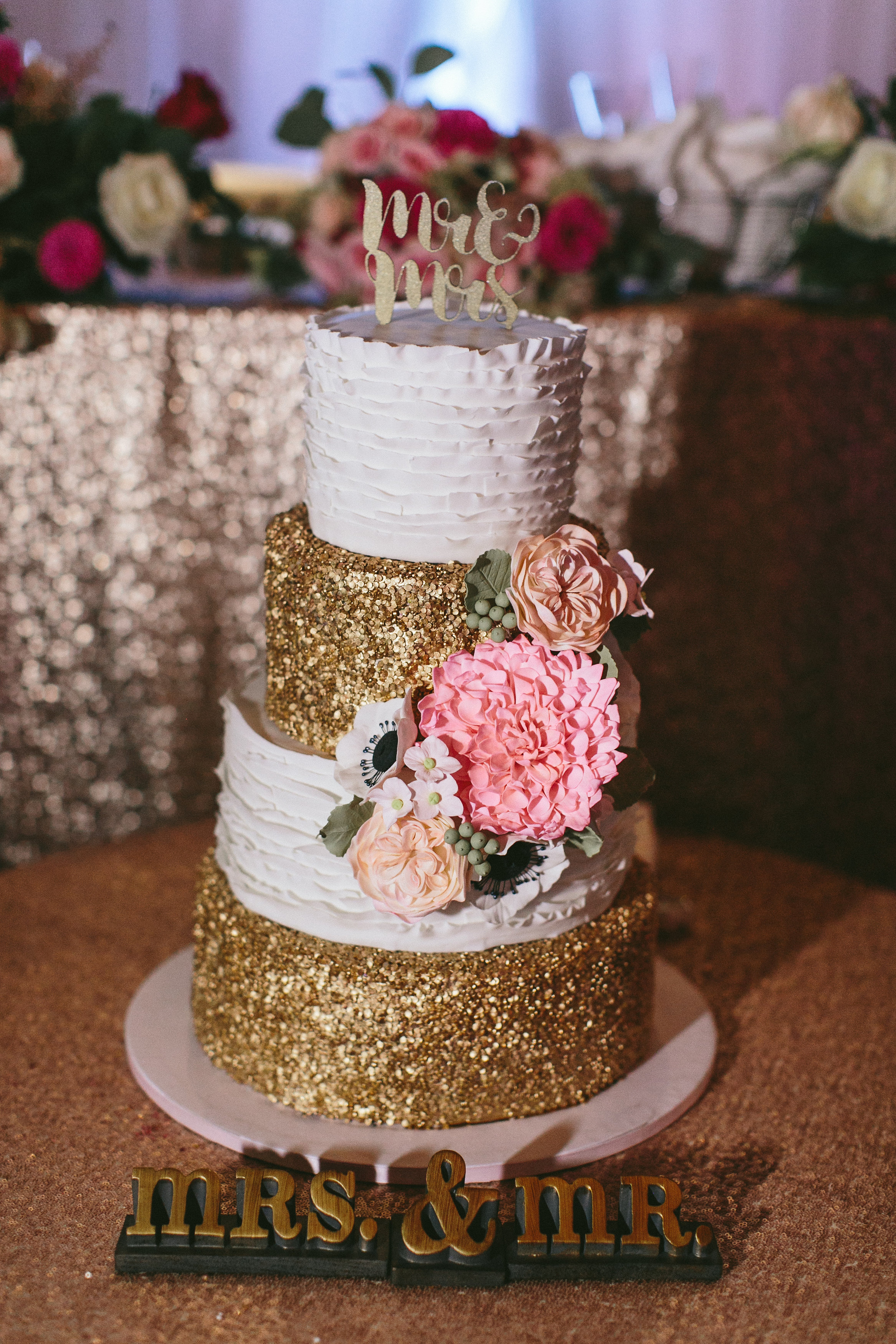 Sophisticated Garden-Inspired Wedding in Toronto at the Grand Luxe - rustic gold sequin cake