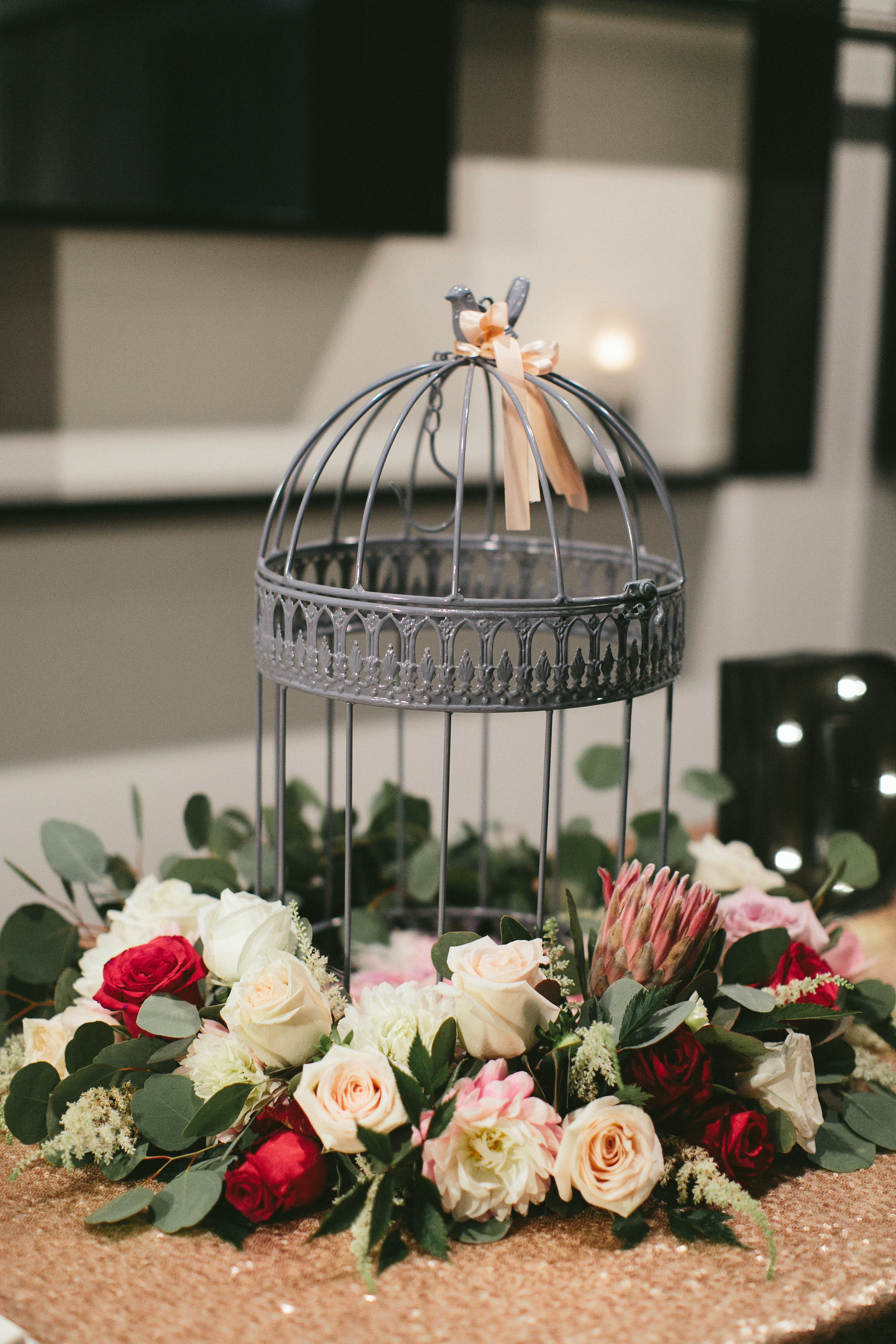 Sophisticated Garden-Inspired Wedding in Toronto at the Grand Luxe - Birdcage with flowers
