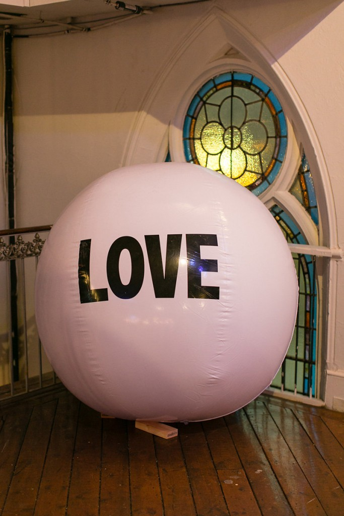 Big love ball at the Berkeley Church casual winter wedding. See more at rebeccachan.ca