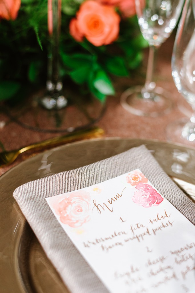 Floral watercolour menus from Cecile Lau Calligraphy, as seen on Cityline's wedding special.