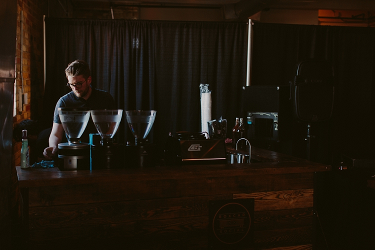 Espresso station - Intimate Burroughes Building wedding with string lights and lavender