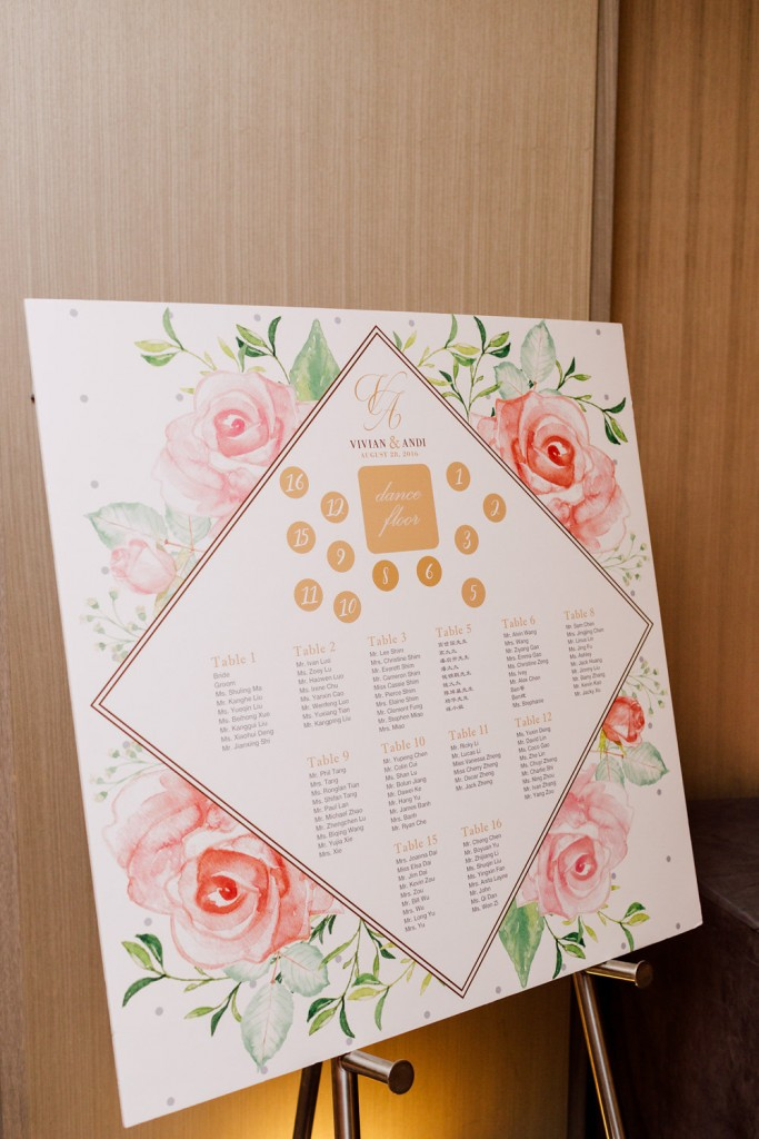 Seating Chart - Modern Chinese Wedding at the Four Seasons Hotel Toronto