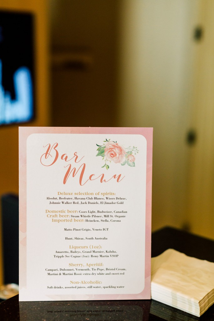 Bar Menu - Modern Chinese Wedding at the Four Seasons Hotel Toronto