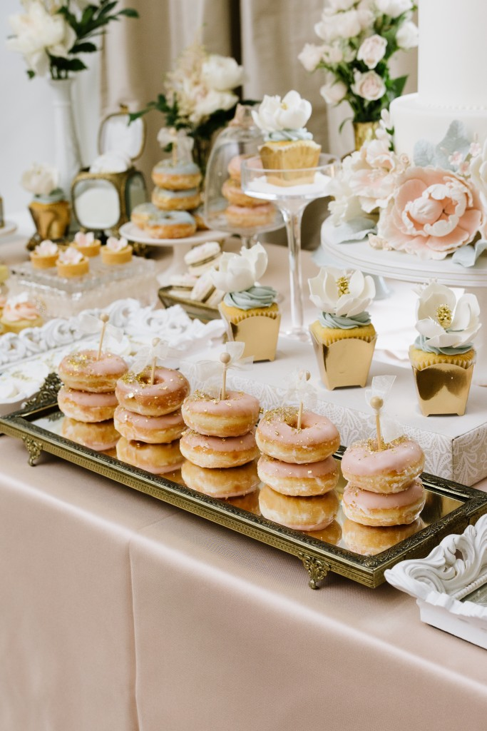 Ornate blush and blue swets table - Afternoon Tea Inspired Wedding at Graydon Hall Manor
