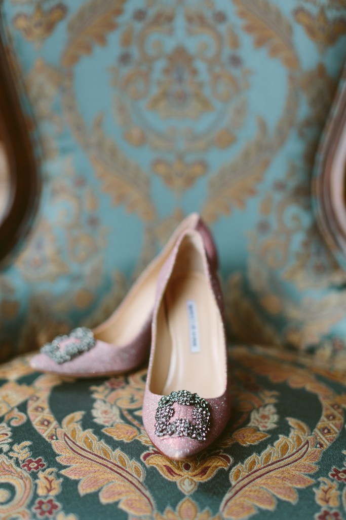 Pink Manolo Bridal shoes - Vintage Afternoon-Tea Inspired Wedding at the Omni King Edward Hotel