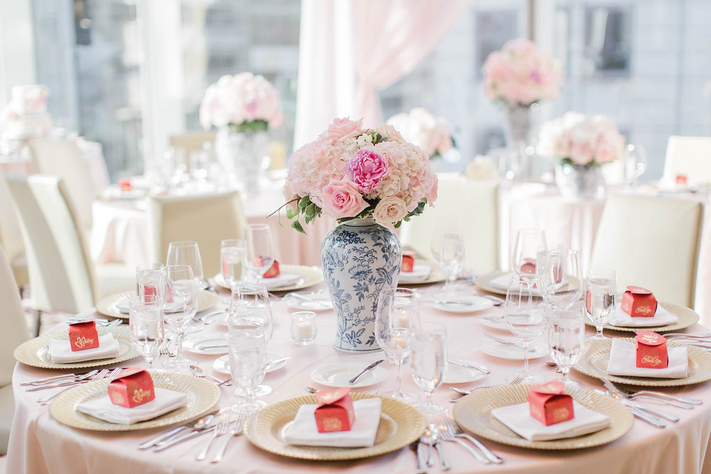 Pink floral in blue chinoiserie vases - Elegant Shangri-La Hotel Toronto wedding