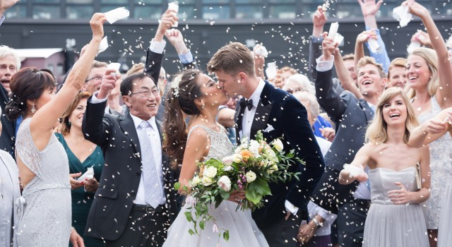Confetti kiss photo - Romantic Rustic Wedding at the Steam Whistle Brewery