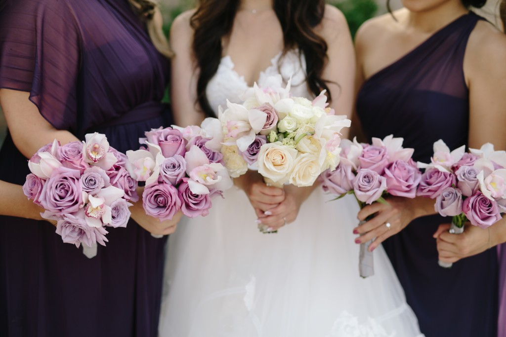 Arcadian Court wedding - modern lavender bouquets