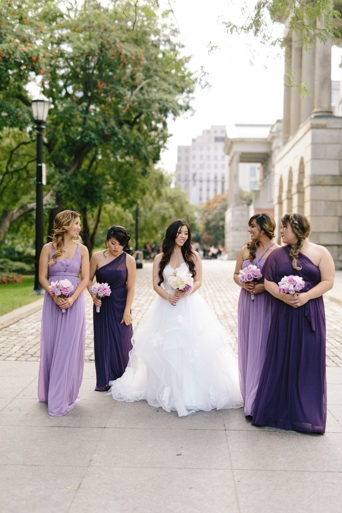 Arcadian Court wedding - modern lavender bouquets and bridesmaids