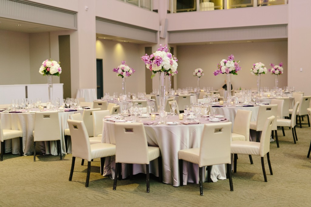 Modern Arcadian Court wedding reception - lavender centrepieces