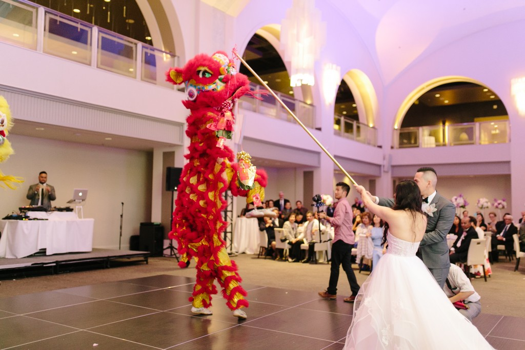 Modern Arcadian Court wedding reception - Chinese lion dancers