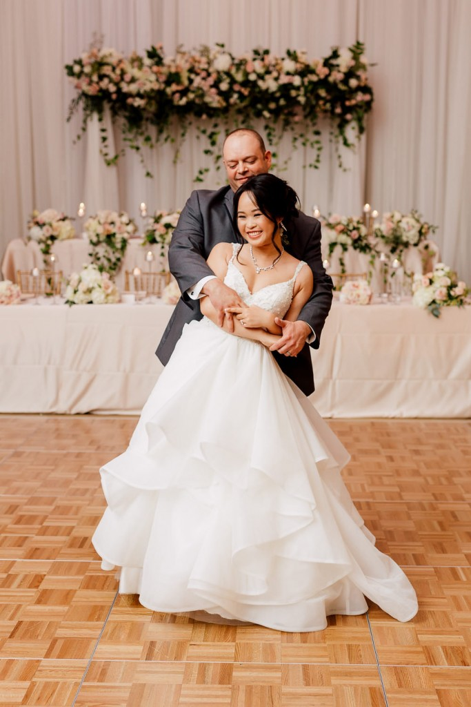 First dance - Romantic Pink and Gold Wedding at Omni King Edward Hotel
