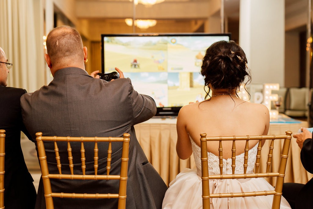 Video Game room - Romantic Pink and Gold Wedding at Omni King Edward Hotel