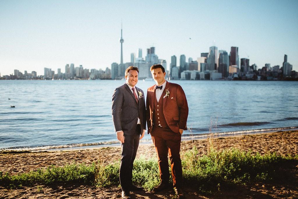 Rustic gay wedding at Toronto's Ward's Island