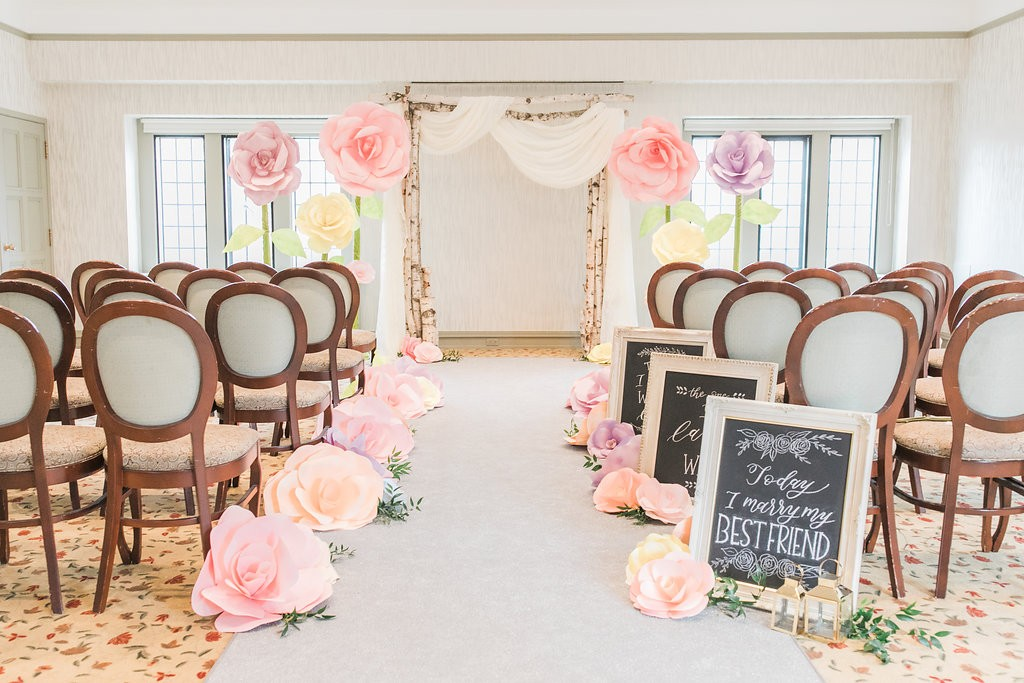 Estates of Sunnybrook open house - whimsical wedding ceremony inspiration with giant paper flowers