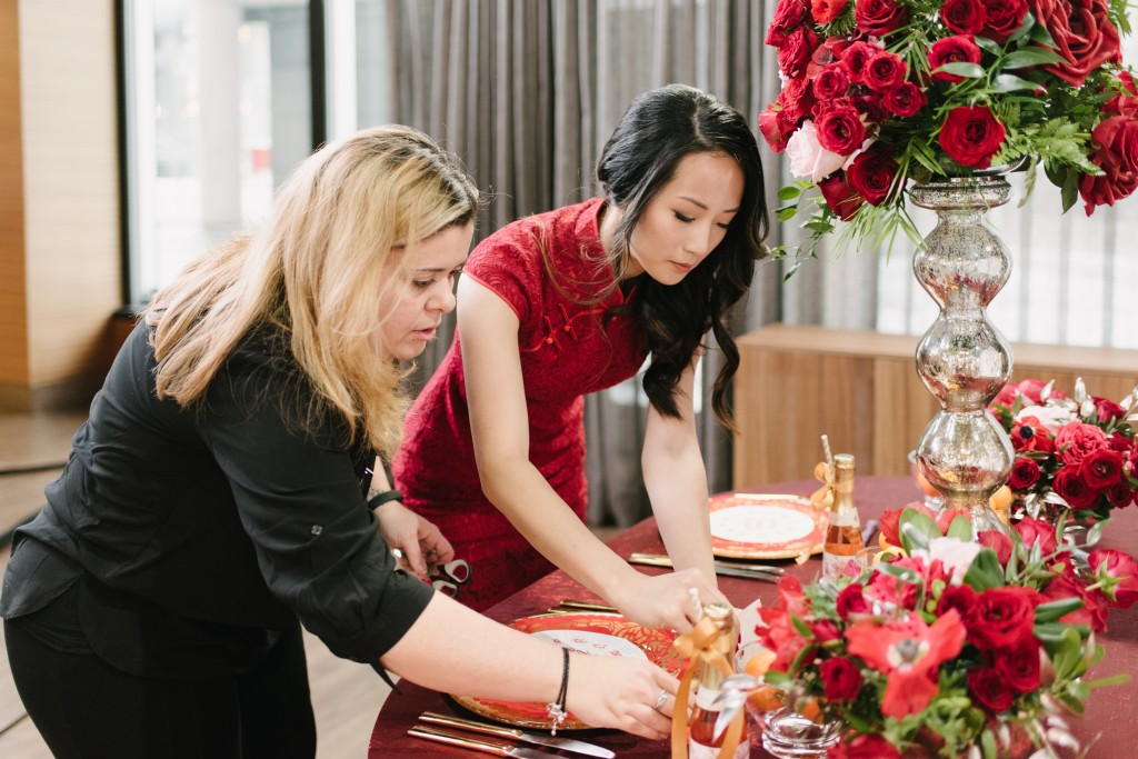 Setting up for Cityline - Modern Chinese New Year entertaining ideas with event planner Rebecca Chan