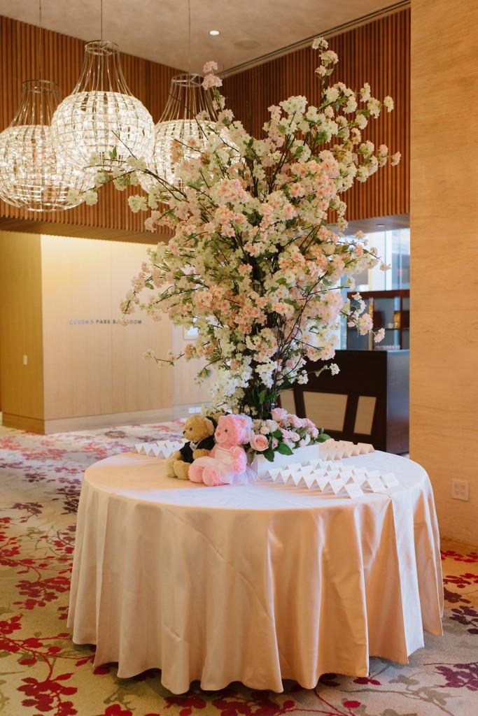 Cherry Blossom welcome table at a Shangri-La Hotel Toronto wedding