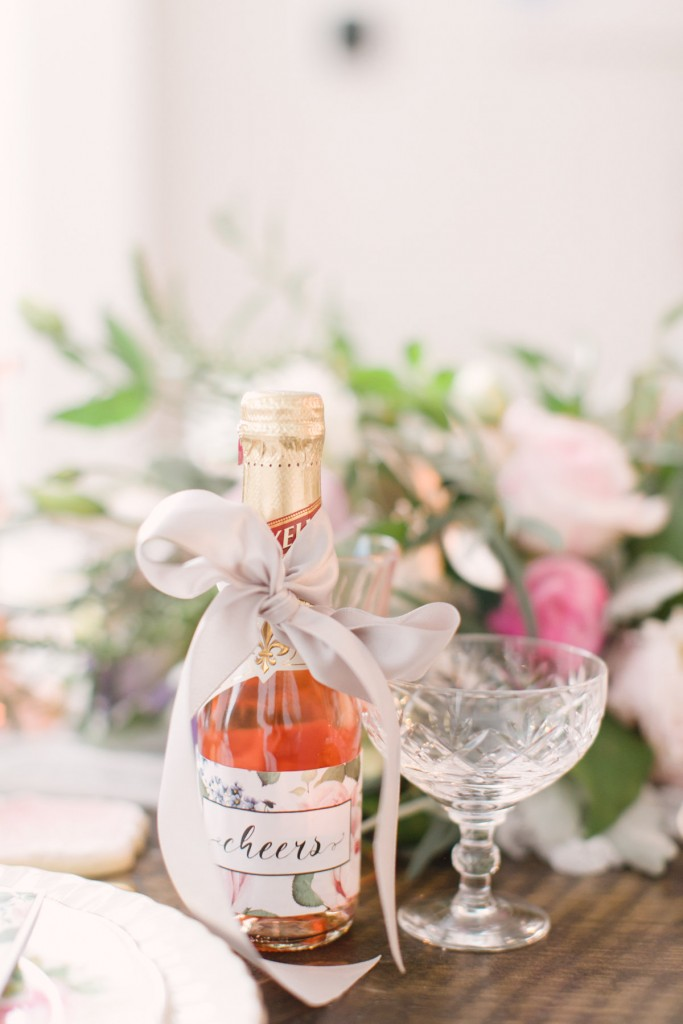 Mini champagne bottle with floral label - An intimate dinner party with event planner Rebecca Chan
